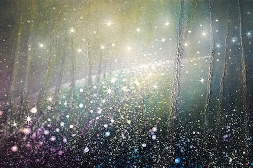 Dancing Light in the Night Forest  Orginal painting