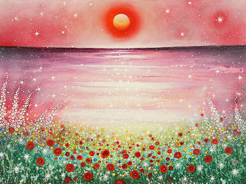 Beautiful Sunset (Ocean & Poppies & Stars) Original Painting