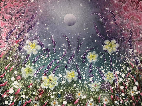 The moon in the universe 😊 Star seeds fall to the earth and flowers bloom