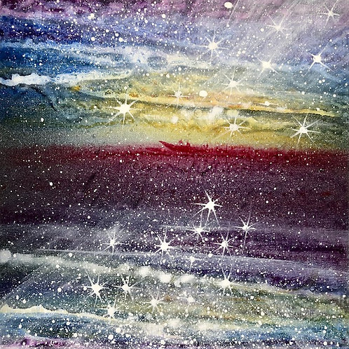 Sailing to the secret beach Orginal painting