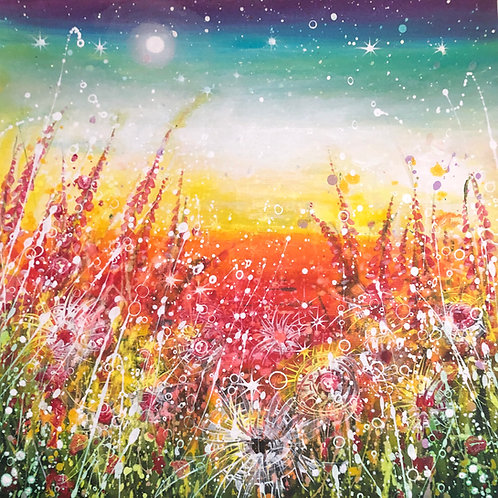 Original painting Live like wild flowers, strong and beautiful, fullof energy