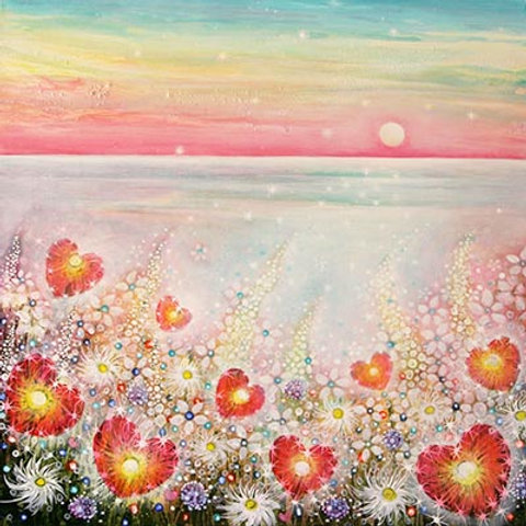 Heart of Poppies & Sunset   Original Painting deep eges canvas