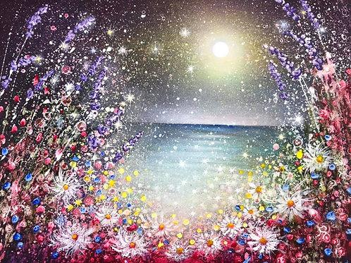 Original Painting  The joy of a full moon night