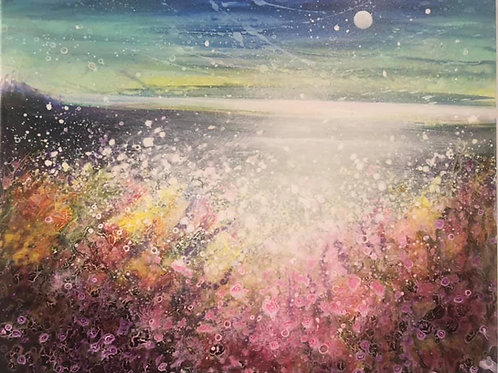 Original Painting  Endless sea and daytime moonscape