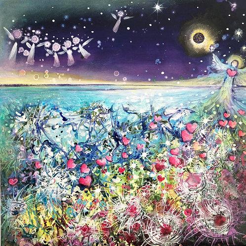 Heart  flower  angels A3 print