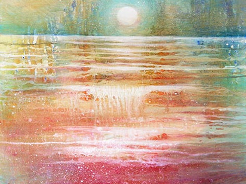 TIME FOR RELAX (Waiting the moon rise over the horizon) Orig Painting