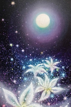 Moonlight shine into the secret flowers