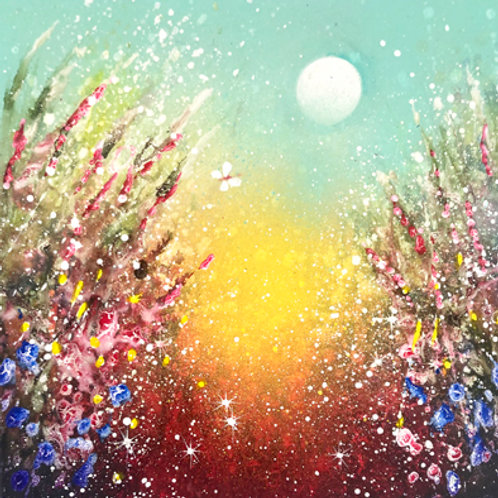 Original painting Moon is rising in the secret garden
