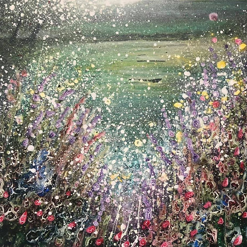 Original painting Wild flowers watching the cherry blossoms blowing in the mount