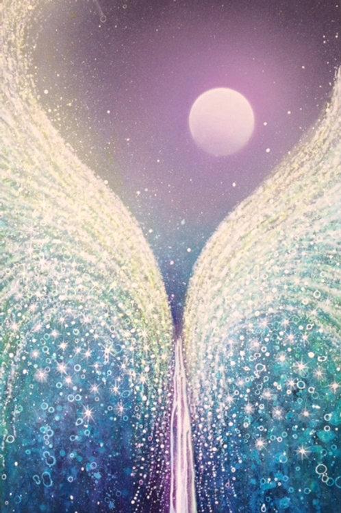 """Original painting """"Moon & Angel waterfall"""""""