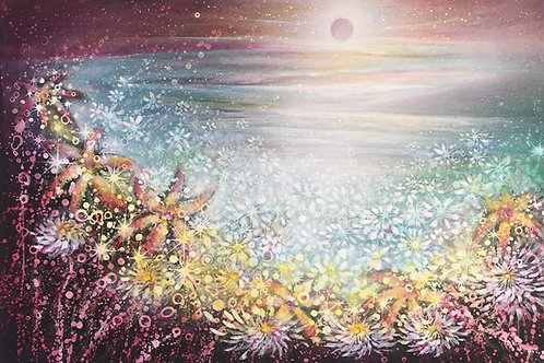 Original Painting Pink Moon Rising & Flowers are so happy to see her