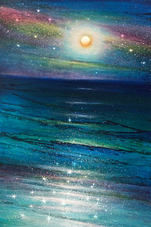 Moon & Rainbow Galaxy A3 print