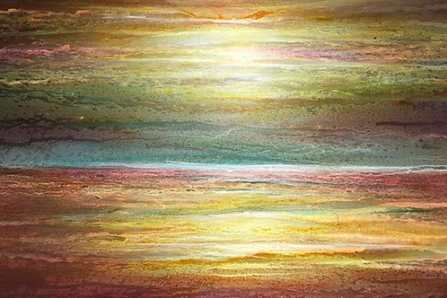 """Golden Wave""  ""Golden Sky"" This painting you can view both ways."
