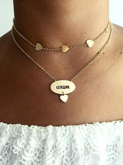 Kit Oxum chocker + gargantilha prata 925 banhada a ouro