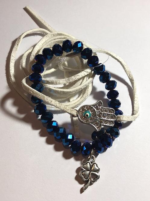 Kit de pulseiras de cristal azul e couro branco