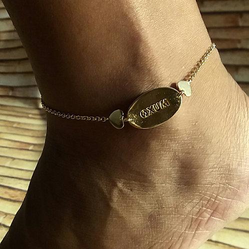 Tornozeleira de Oxum prata banhada a ouro