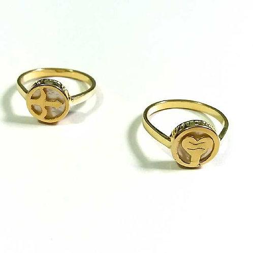 Anel de orixás de prata banhado a ouro amarelo ou rosê