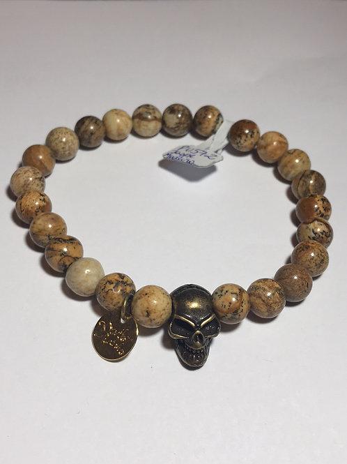 Pulseira masculina de pedra jaspe Madeira com entremeio de caveira