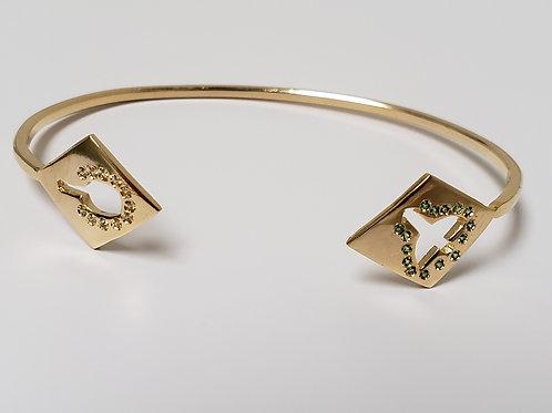 Bracelete de orixás banhados e cravejados com zircônias
