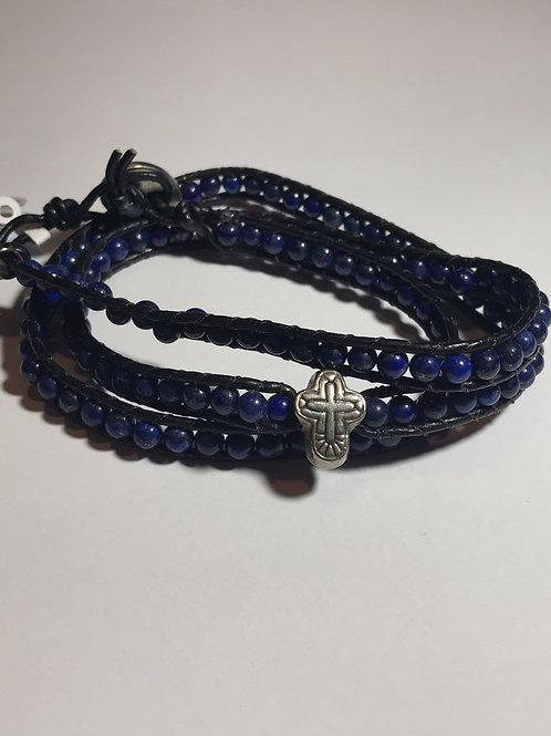 Pulseira masculina tipo chan loo de lapis lazuli
