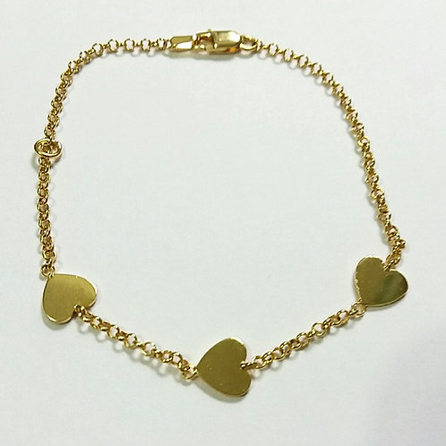 Pulseira com 3 corações em prata 925 banhada a ouro
