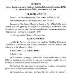 Decision by Prime Minster to apply BIM for Construction and Facility Management Activities for VN.