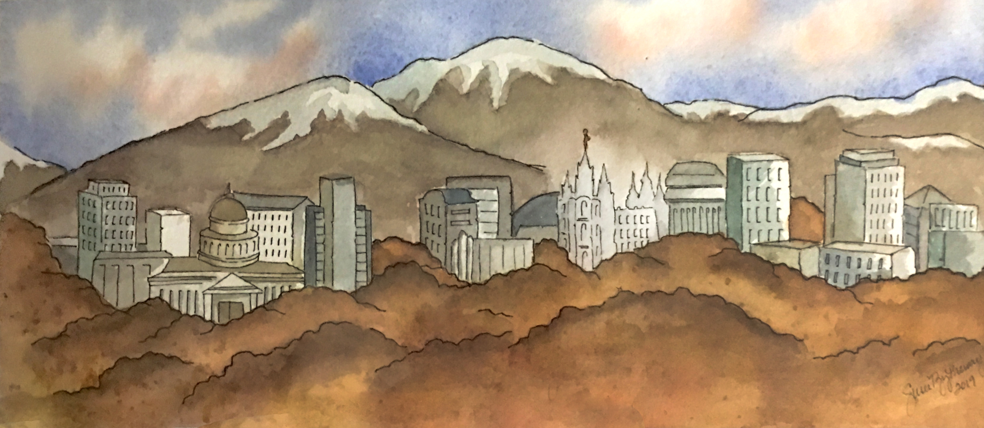 SLC Skyline in the fall