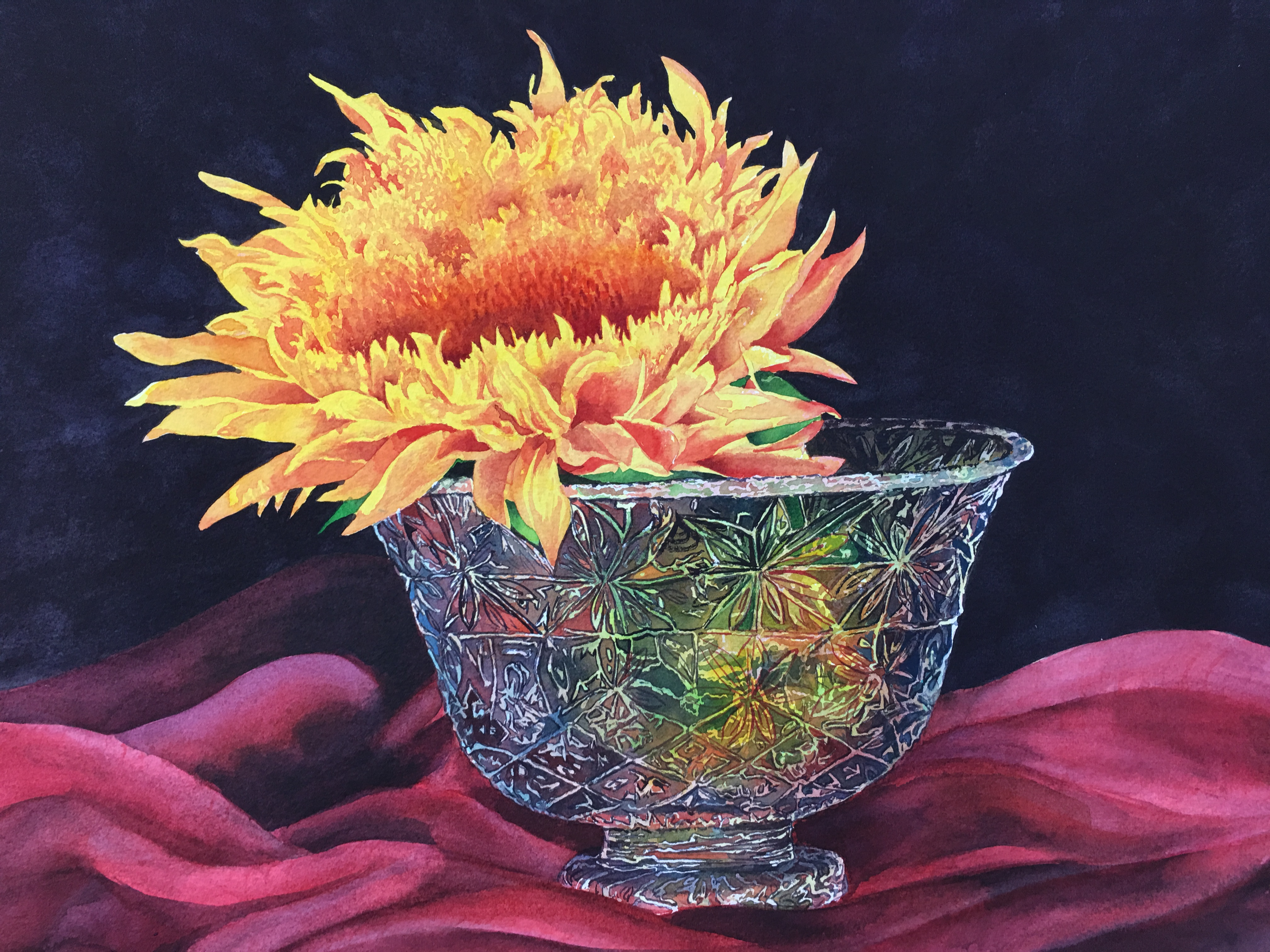 Sunflower in Crystal bowl