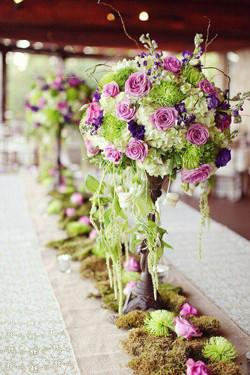 Centre de table vert violet