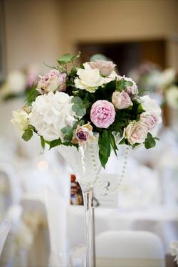 Centre de table mauve rose