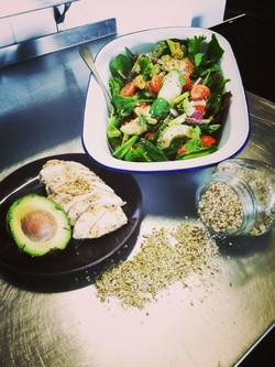 Avo chicken and salad