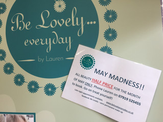 HALF PRICE beauty treatments by Lauren Jk's this May!