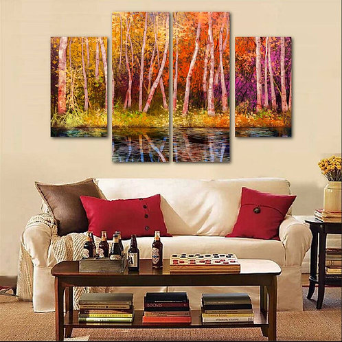 Forest By the Lake Painting