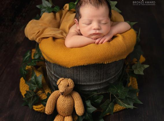 Baby photo in mustard yellow