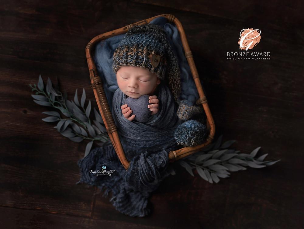 Newborn Baby boy in shades of blue
