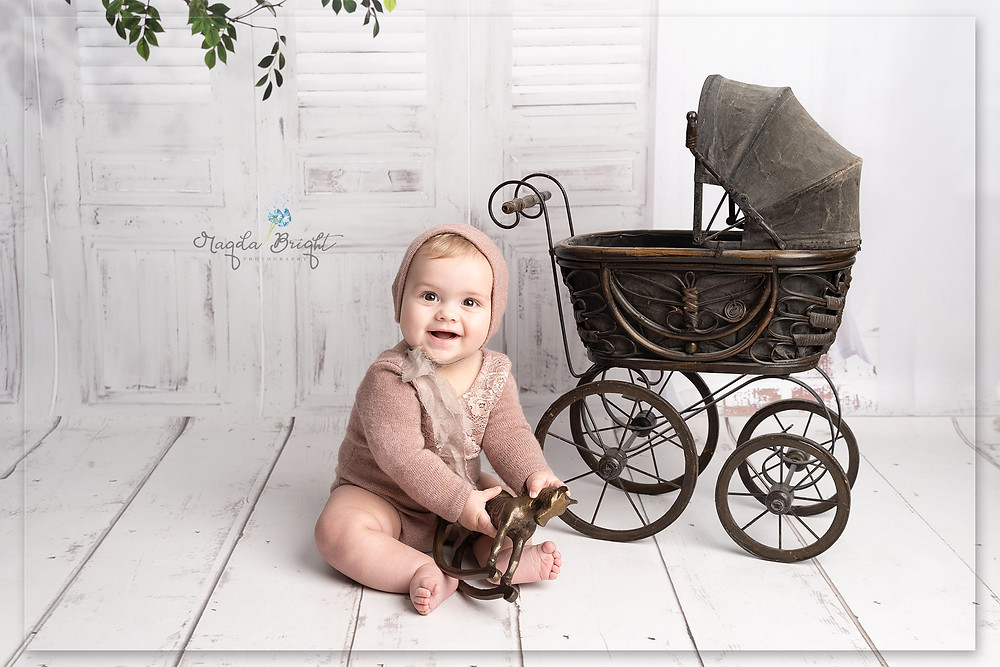 Vintage themed sitter session with a little girl