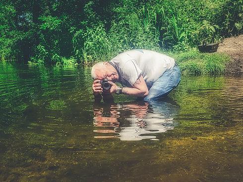 Elton in a river. Grumpy Gits roadtrip. Commercial photographer. Travel photography. Digital nomad. Vanlife. Travel. Blogger. Web design. Website designer. EmC Photography. United Kingdom