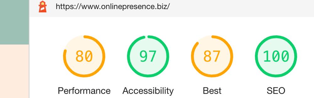 Google Lighthouse report results. The Online Presence Guy. Web Design. Website Designer. Web developer. Wix Wesbites. Affordable websites. Website guarantee. Social Media Manager. Digital Marketing. London. Cambridge. United Kingdom