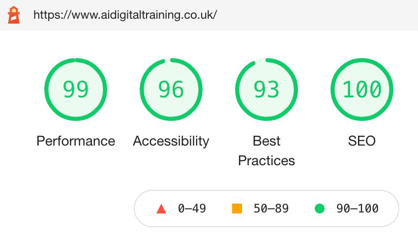 Google SEO score for AI Digital Training website build. Website design. Website designer. Web design. Web designer. SEO consultant. United Kingdom