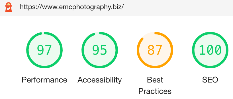 Google SEO and performance score for EmC Photography website