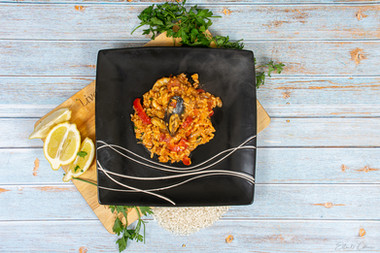 Seafood paella flatlay
