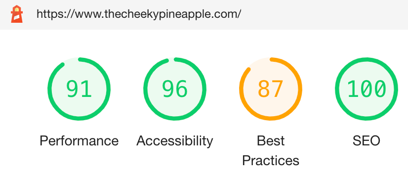 Google SEO and performance score for The Cheeky Pineapple website build by The Online Presence Guy