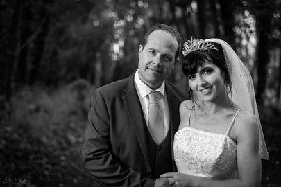 Wedding couple in black and white