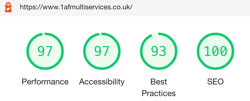 Google SEO and performance score for AF1 Multi Services website build