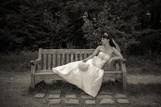 Bride on a bench