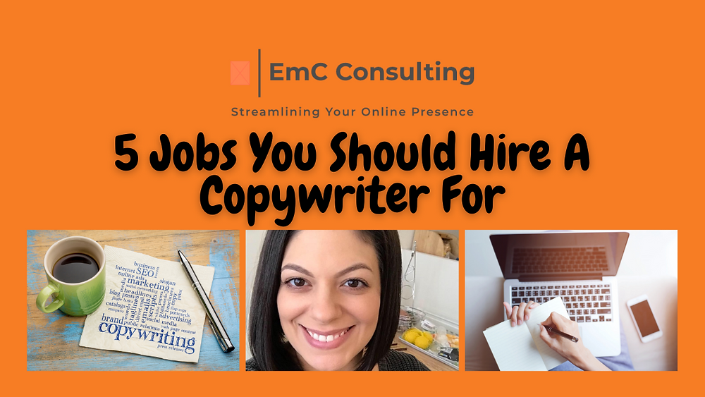 5 jobs you should hire a copywriter for. Copywriter. Copywriting. Business. Small business. Tips. Hints. Blog. Blogger. Newsletter. About me. Sales pages. Business support. Business mentor. Business consultant. Business support group. Small Business Support Squad.