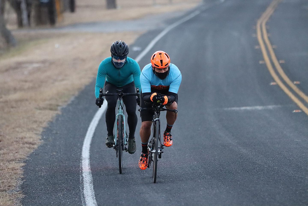 Aldo and Carlos Torres chase each other during the Suffer Faster Ride