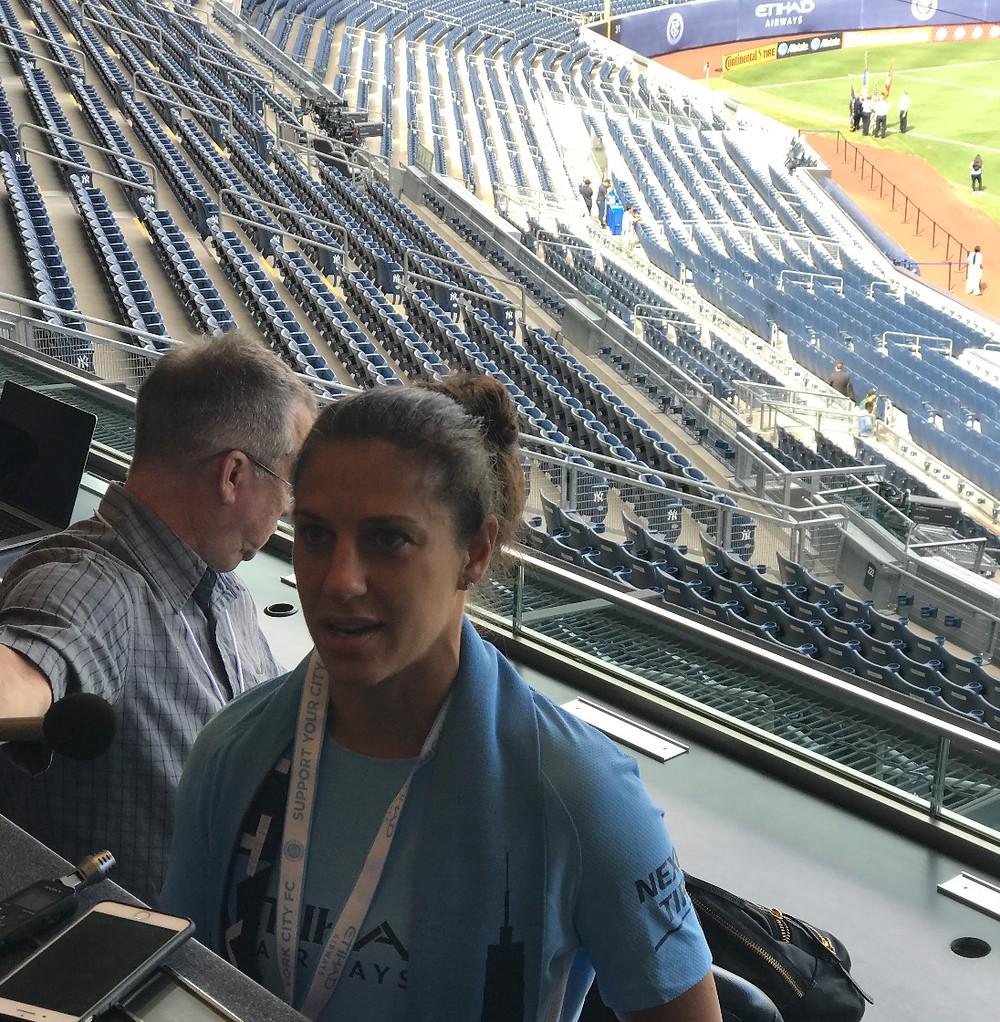 Conferencia de prensa en Yankee Stadium