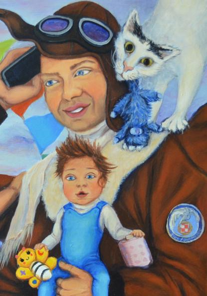 Caricature d'une famille- détail