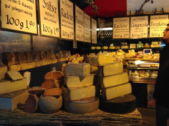 A glorious cheese stall at the Stachus Markets in Munich